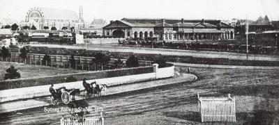Redfern Station (Sydney) at the corner of Devonshire and Chalmers Street, 1879