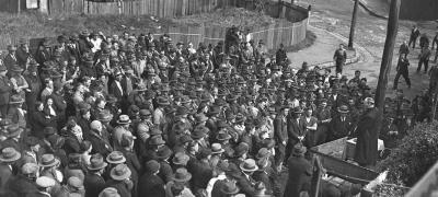 Jack Lang addresses a rally of railway workers at Eveleigh, photographer Sam Hood, 1934