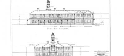 Plan of the Works Managers Office, south east and north east elevation, 23 March 1944