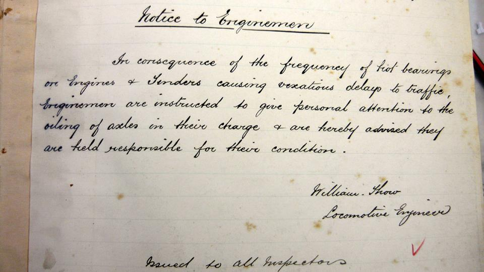 Notice to Enginemen – a very early circular signed by William Thow CME, 30 May 1889.