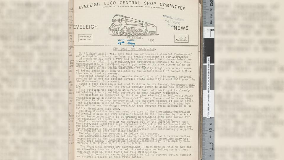 New Deal for Aborigines, Eveleigh News 29 May 1957 Newspaper of the Eveleigh Locomotive Shop Committee.
