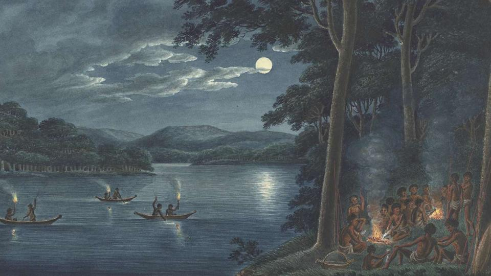 Joseph Lycett, Fishing by torchlight, other Aborigines beside camp fires cooking fish, c1817