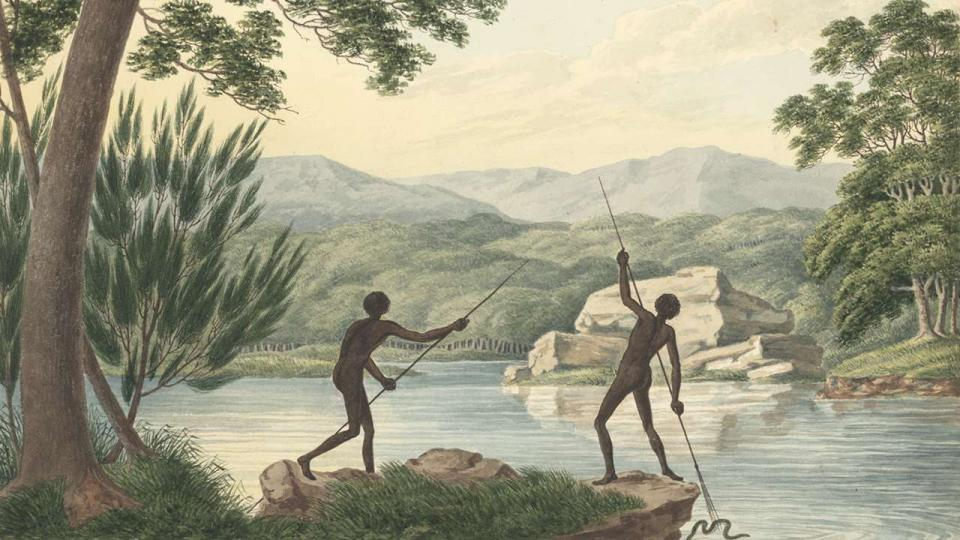 Joseph Lycett, Two Aborigines spearing eels, c1817