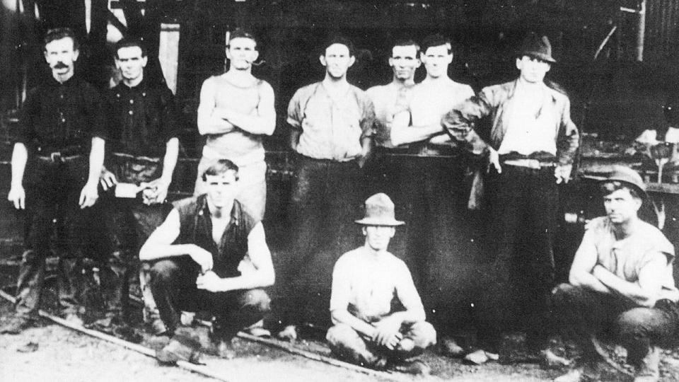 Employees of Mechanical Branch at Bathurst Locomotive Depot circa 1910. Standing third from left is locomotive drive Mr J.B. Chifley, future Prime Minister of Australia.