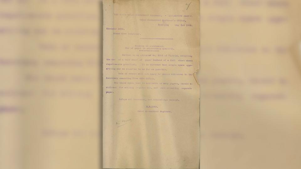 Method of renovating carbon paper used on typewriters. Circular No 3500, 1 September 1916, E.E. Lucy CME